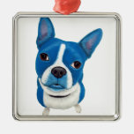 Blue Boston Terrier Christmas Ornaments