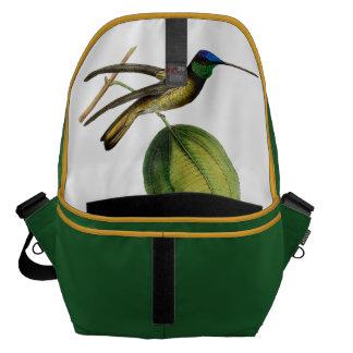 Blue botanical Colibrí green black, vintage Messenger Bag