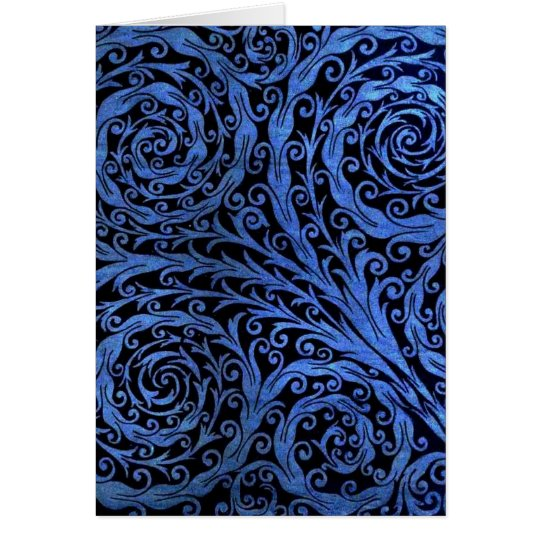 Blue Botanical Swirls Card