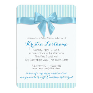 Blue Bow and Pin Stripes Baby Shower Card