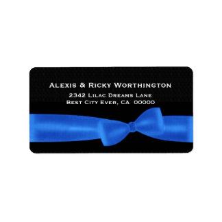 Blue Bow Black Background Wedding Ver S312 Address Label