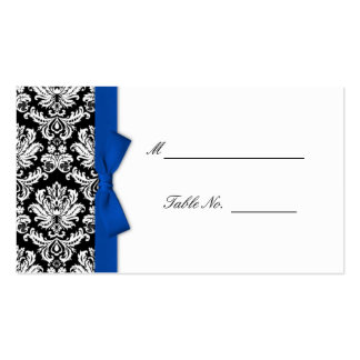 Blue Bow Damask Wedding Placecards Double-Sided Standard Business Cards (Pack Of 100)