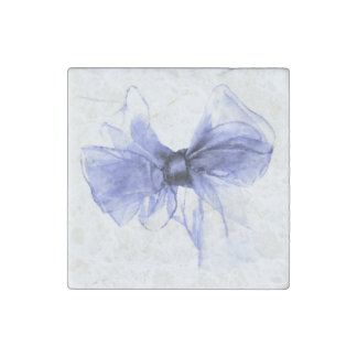 Blue Bow Drawing Sketch Stone Magnet