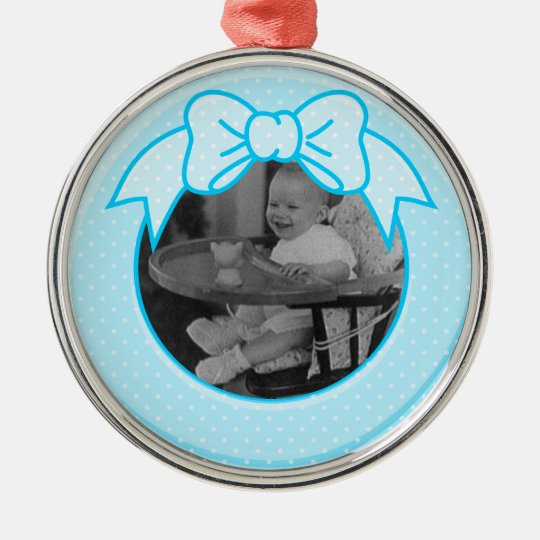 Blue Bow Frame Customizable Metal Ornament