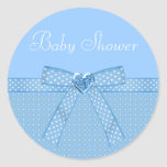 Blue Bow & Heart Jewels Boy Baby Shower Stickers