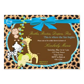 Blue Bow Jungle Baby Shower Invitation