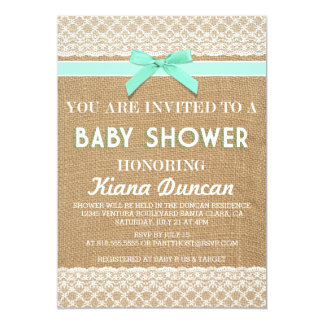 blue bow lace burlap baby shower invitation