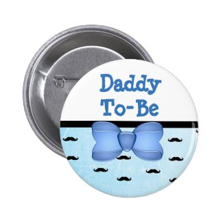 Blue Bow & Mustache Daddy to be Baby Shower Button