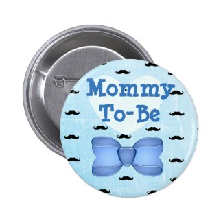 Blue Bow & Mustache Mommy to be Baby Shower Button