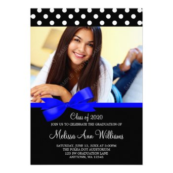 Blue bow polka dots photo graduation announcement just sold on zazzle royal blue bow polka dots photo graduation announcement invitations a stylish black and white polka dot pattern with a dark blue ribbon illustration filmwisefo Images