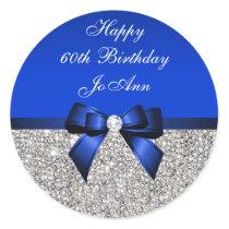 Blue Bow Silver Sequins Birthday Classic Round Sticker