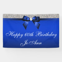 Blue Bow Silver Sequins Personalized Birthday Banner