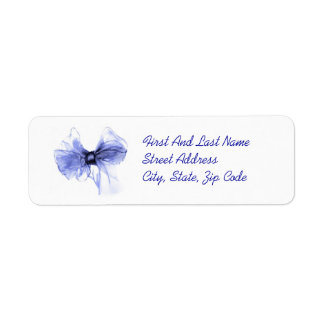 Blue Bow Sketch Return Address Label