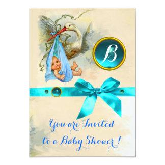 BLUE BOW STORK BABY BOY SHOWER GEMSTONE MONOGRAM CARD
