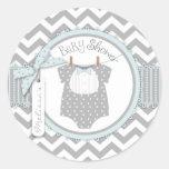 Blue Bow Tie & Chevron Print Baby Shower Round Stickers