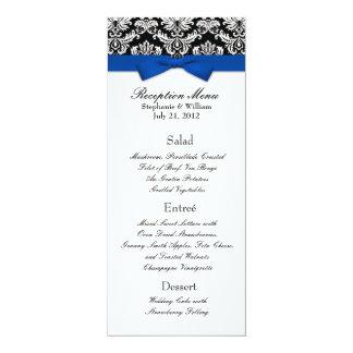 Blue Bow with Damask Wedding Reception Menu Card