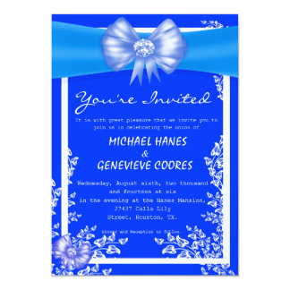 Blue Bow With Diamond Floral Wedding Invitation