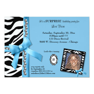 Blue Bow With Pearls And White Zebra Stripes 5x7 Paper Invitation Card