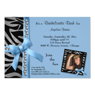 Blue Bow With Silver Pearls And Zebra Stripes 5x7 Paper Invitation Card