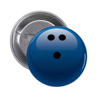 BLUE BOWLING BALL 2 INCH ROUND BUTTON