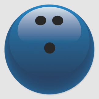 BLUE BOWLING BALL CLASSIC ROUND STICKER