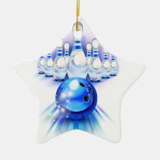 Blue bowling ceramic ornament