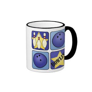 Blue Bowling Ringer Coffee Mug