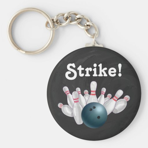 Blue Bowling Party Key Chains