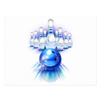 Blue bowling postcard