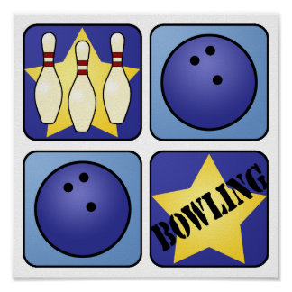 Blue Bowling Poster
