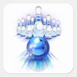 Blue bowling square sticker