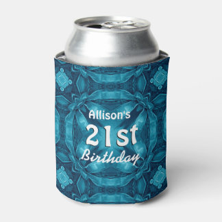 BLUE Bows 21st Birthday Custom Name A07 Can Cooler