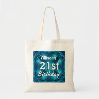 BLUE Bows 21st Birthday Custom Name A08 Tote Bag