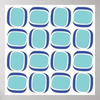 Blue Box 60s Pattern Poster