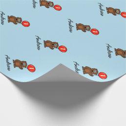 Blue boy 1st Birthday teddy bear wrappingpaper