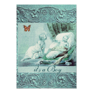 BLUE BOY BABY SHOWER WITH BUTTERFLY Champagne 5x7 Paper Invitation Card