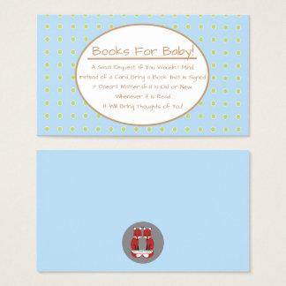 Blue Boy Bird Baby Shower Book Request Insert