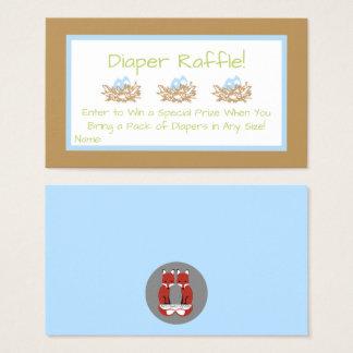 Blue Boy Bird Baby Shower Diaper Raffle Cards