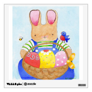 blue boy bunny with  Easter basket wall decal