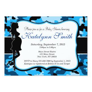Blue Boy Camouflage Baby Shower Invitation
