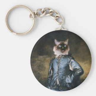 Blue Boy Cat Keychain
