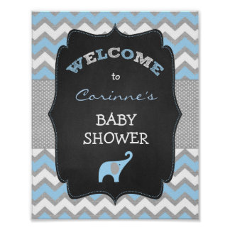 Blue Boy Elephant Baby Shower 8x10 Welcome Sign