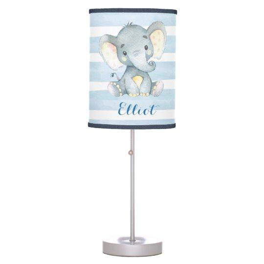Blue Boy Elephant Nursery Lamp
