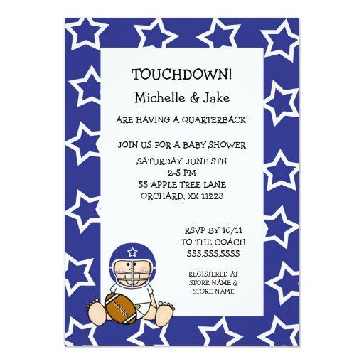 blue boy football baby shower invitation zazzle