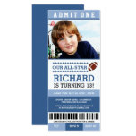Blue Boy Football Ticket Birthday Invites at Zazzle
