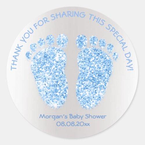 Blue Boy Glitter Feet Baby Shower Favor Thank Classic Round Sticker