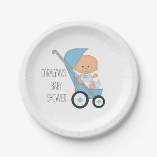 Blue Boy in Stroller Baby Shower Paper Plate