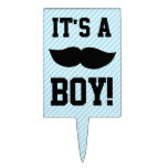Blue Boy Moustache Baby Shower Rectangle Cake Topper