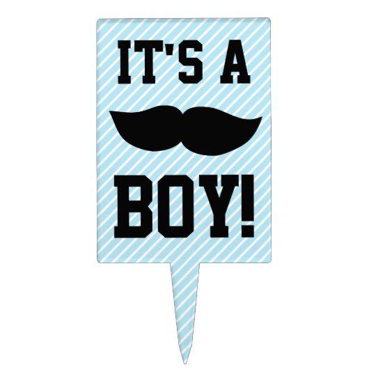 Blue Boy Moustache Baby Shower Cake Topper