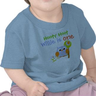 Blue Boy Owl Personalized Birthday T-shirt